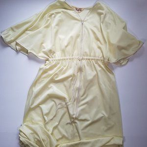 Vintage 70's Vanity Fair Yellow Kimono Full Robe M